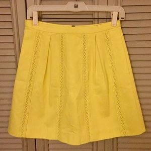 NWT Bright Yellow J. Crew Lace-Inset Mini Skirt
